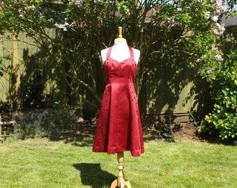 Red Formal Dress, Floral Dress, Red 50s Dress, Satin Dress, Vintage Style Dress, Halterneck Dress, Womens Dresses, 50s Dress, Satin Skirt,