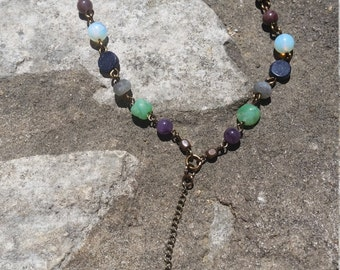 Recycled Mandala Lucky charm, mixed Healing stones necklace