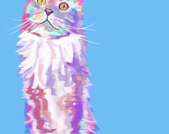 9x12  Maine Coon, Cat Art - Print