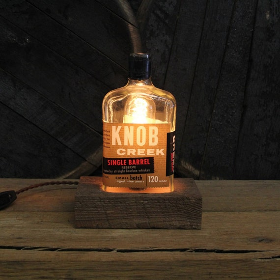 Knob Creek Single Barrel Bourbon Bottle Lamp, Features Reclaimed Wood Base, Edison Bulb, Twisted Cloth Wire, In line Switch, And Plug