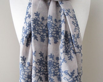 Grey scarf, Embroidered scarf, Embroidered shawl, Embroidered flowers, Blue flowers scarf, Lightweight scarf for spring, summer and fall
