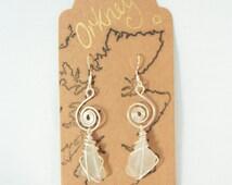 ORKNEY FROST / Scottish sea glass spiral earrings / handmade sea glass beach earrings /  sea glass handmade / Orkney Scotland / ByRois