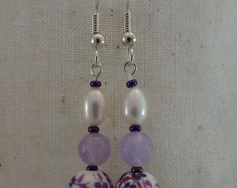 Lavender amethyst (A+), Freshwater pearl and purple porcelain flower bead earrings