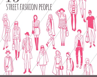 15 Hand Drawn Street Fashion People Vector Clipart