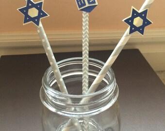 Hanukkah / Channukah paper straws / star of David / Dreidel (pack of 12)