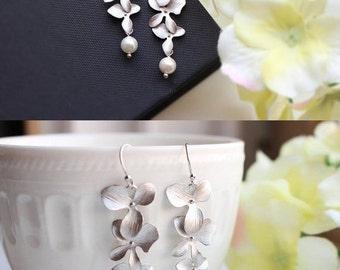 Orchid Earrings Wedding Earrings Silver orchid dangle earrings Orchid Jewelry Flower earrings Bridesmaid set Bridesmaid EarringsGift for Her
