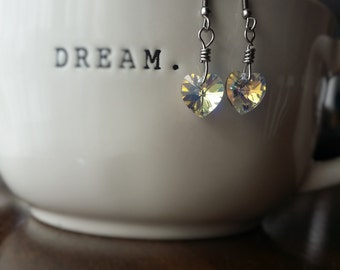 Swarovski Crystal Heart aurora, Earrings