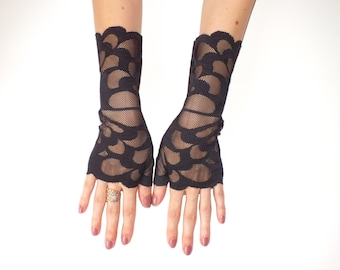Lace gloves\Black Lace Gloves\ Fingerless Gloves\ Lace Gloves\Black Gloves