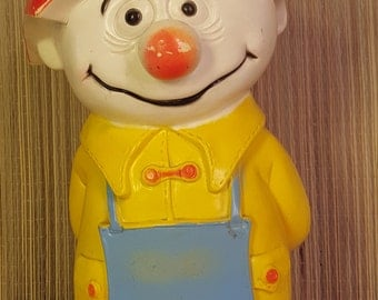 Vintage plastic coin bank umbrella head figure, Save for a Rainy Day