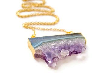 Amethyst Slice Necklace, Amethyst Crystal, Raw Crystal Necklace, Purple Crystal, Raw Amethyst, Amethyst Druzy Necklace, Boho Necklace