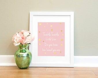 Twinkle Twinkle Little Star Print, Nursery Print, Pink Twinkle Twinkle Printable, 8x10 Instant Download, Girls Room Print, Girl Nursery Art