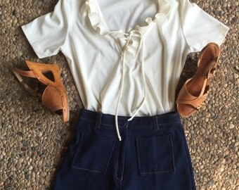 VINTAGE 70's Cream Polyester Ruffled Blouse with Tie