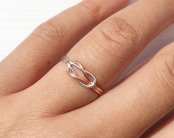 gift-Silver/Rose Gold Knot Ring,adjustable,infinity knot ring,reversible ring,double knot ring,two tone knot ring,love knot ring,minimalist