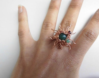 "Handmade wire copper ""SUN"" ring with NATURAL STONES"