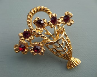 FREE SHIPPING Ruby Gold Tone Metal Brooch, Basket of Flowers Shape, Red Stones, Vintage English 1980's