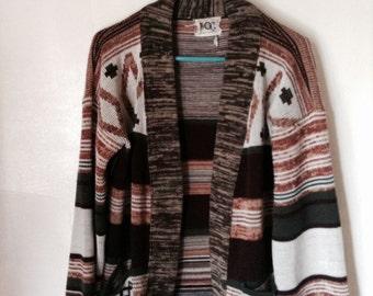 1970s bohemian hippie sweater aztec ethnic print