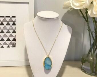 Druzy Stone Necklace, Large Druzy Necklace, Druzy Pendant Necklace, Stone Necklace, Blue Stone Necklace