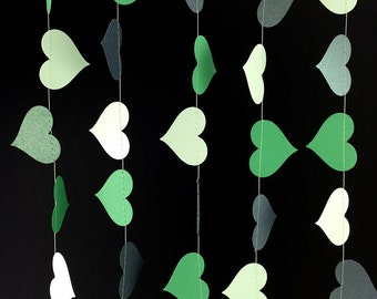 St. Patrick's Day Garland - Shamrock Green Heart Garland, St. Patrick's Decorations, Irish Decor, Emerald Green, Mint Green - GH048MntShamEm