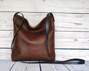 Chocolate brown crossbody bag, real leather, slouchy cross body, shoulder bag, leather purse