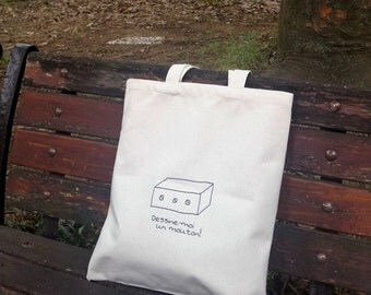 The Little Prince inspired, Draw me a sheep (French), tote bag, cotton bag, canvas shoulder bag, natural cotton, durable