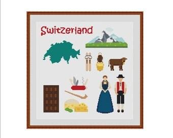City cross stitch pattern, Switzerland cross stitch, Swiss pattern, Little town pattern, Little city pattern, Cross stitch PDF, PDF pattern