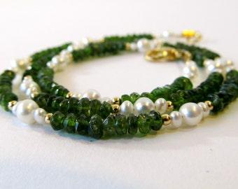 Vesuvianite Necklace with White Freshwater Pearls, Green Semi-Precious Stone Necklace, Unique Volcanic Rock Jewelry, Handmade Gift