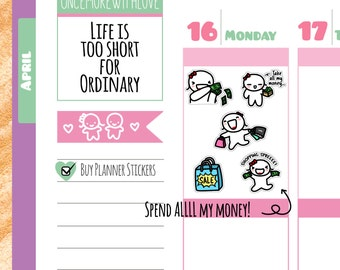 Munchkins - Spend ALL My Money Shopping Spree Planner Stickers (M140)