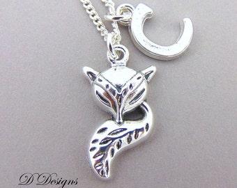 Fox Necklace, Personalised Fox Jewellery, Personalised Letter Necklace, Sterling Silver Necklace, Personalised Fox Necklace. gifts for Her