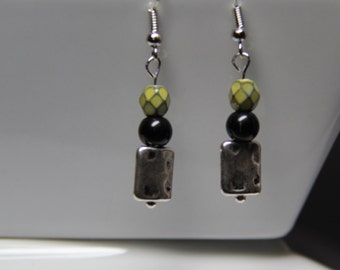 Earrings with Acid Green Faceted and Black Glass Beads