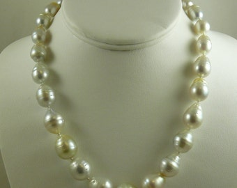 South Sea White Baroque Pearl Necklace 14.1x16.9mm - 9.4 mm x 12.0 mm 14k Clasp