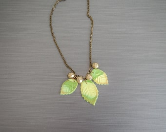 Polymer clay leaves necklace- Polymer clay jewelry-Leaf jewelry-Leaves pendants
