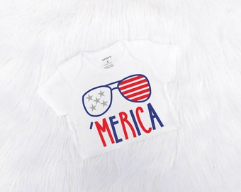 Boy 4th of July Outfit, Baby Boy 4th of July Bodysuit, Patriotic Outfit, Merica Bodysuit, Red White and Blue Shirt