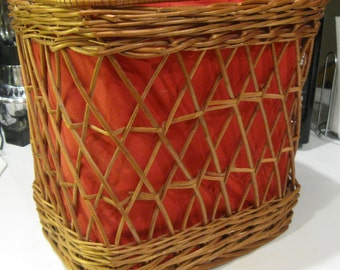 """Wonderful XL MARKET SHOPPING Wicker Basket 14"""" Tall Vintage 1960s Double Handle Red Fabric Lined Woven Wood Bottom Picnic Sewing Storage 299"""