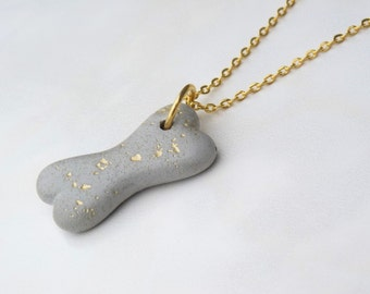 Necklace concrete bone pendant - Golden spots - dog - gift -.