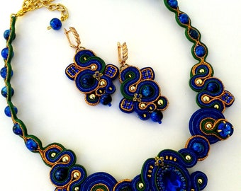 Soutache set , blue, green, gold. Small Necklace. Multicolor, colorful Soutache jewelry. Soutache Necklace and Earrings.