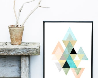 Pastel Geometric Art, Triangle Print, Scandinavian Art, Minimalist Art, Abstract Art Print, Wall Decor, Giclee print, Wall Art,