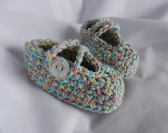 Pastel Newborn Baby Mary Jane Booties