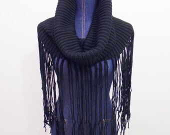 Knitted Lodge Cowl with Super Long Fringe, Knitted Snood, Infinity Scarf, Black