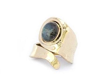 open brass labradorite ring