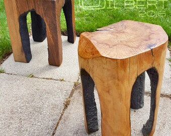 Fire-Carved Stool, Table, Plant Stand, burnt edge, rustic, industrial