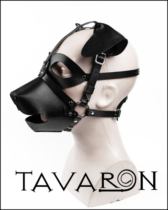 Puppy Play Muzzle Mask: Leather Mask Puppy With Muzzle Head Harness Puppy With