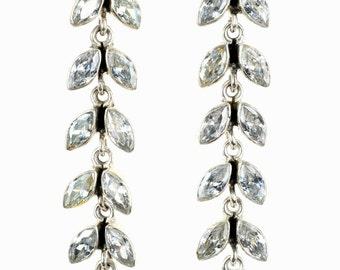 Long dangly silver earrings,Bridal earrings,Zirconium earrings,Silver earrings,Leverback closure earrings, Handmade earrings,Party earrings