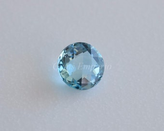 Natural Sky Blue Topaz Both Side Faceted Round Cabochon / Size 14 mm / Dome, Top Quality / Sold per piece