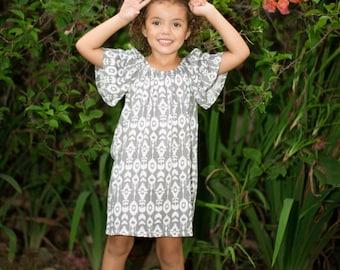 Peasant Dress / Ikat Dress / Girls Dress / Baby Girl Dress / Summer Dress / Bali Dress / Blue Dress / Beautiful Dress / Toddler Dress