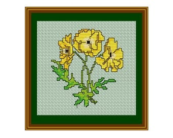 Yellow Flower PDF Instant Download. Flower Pattern. Flower Bouquet Counted Cross Stitch Pattern.