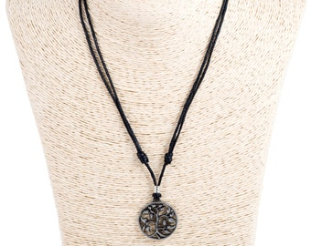 black cord, adjustable necklace with metal tree of life pendant