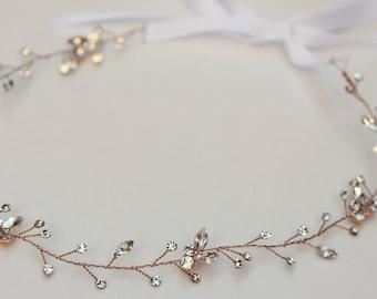 The Brooklyn - Gold (or Silver) Twined Rhinestone Encrusted Bridal Headband Wreath White Ribbon Crown Wedding Bride Crystals Boho headpiece