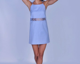 Cotton slip dress, night gown, blue nightie
