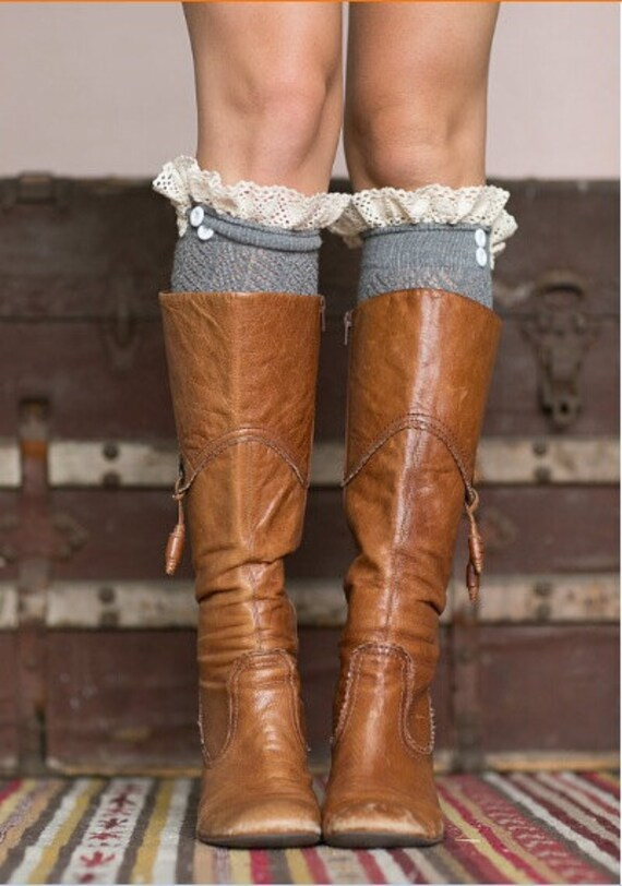 Women's Long Over The Knee Boot Socks with Open Knit, Crochet Lace Trim and Buttons for Stocking Stuffers In Dark Gray.