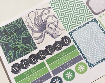 W034--Coastal Kraken Planning Stickers, for the Erin Condren Vertical or Happy Planner, Octopus, Vintage, Greek Key, Boho, Batik, Anchor